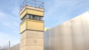 Reconstructed watchtower at the Berlin Wall Memorial