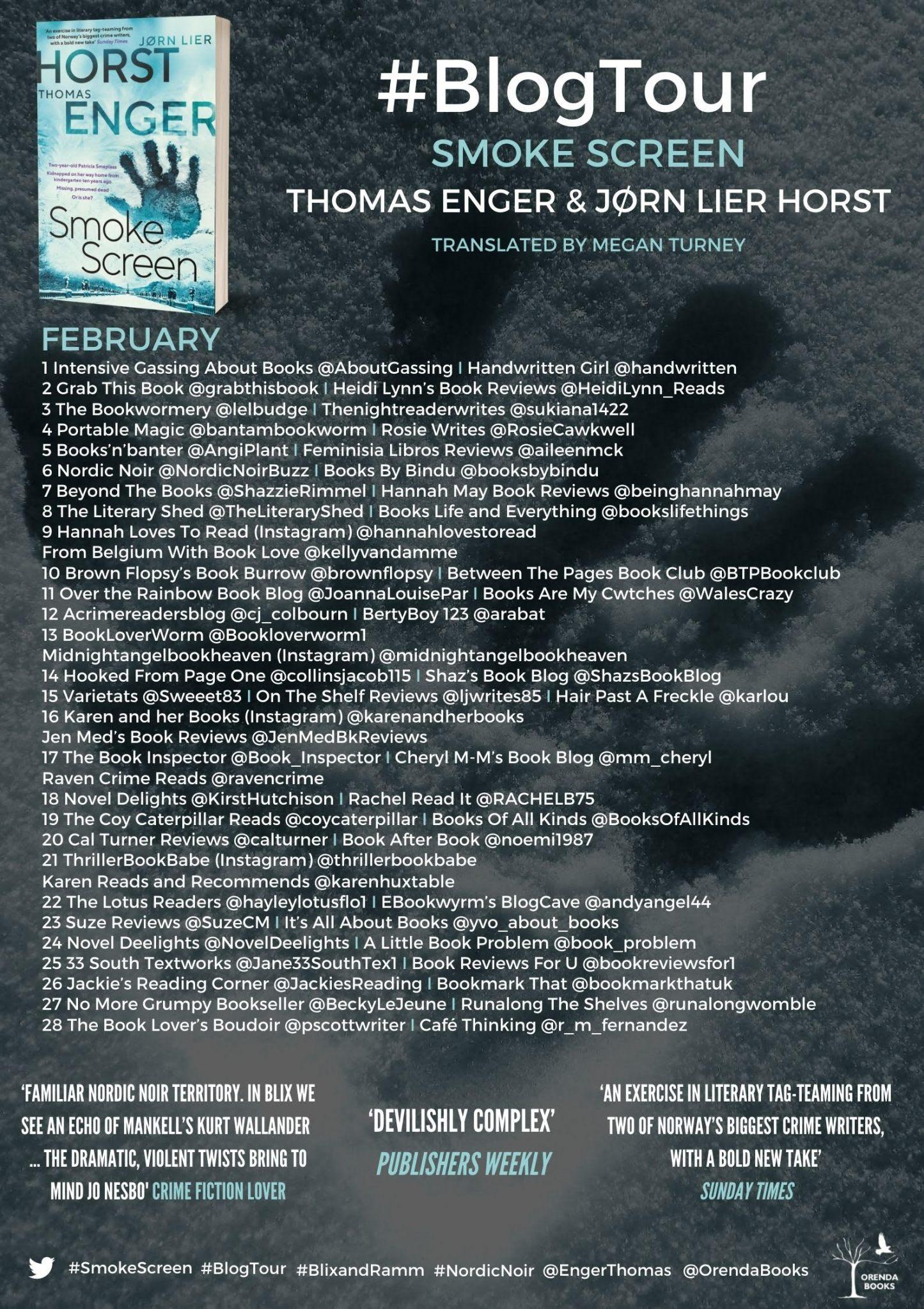 #BlogTour- Thomas Enger/ Jørn Lier Horst- Smoke Screen (tr. Megan Turney)